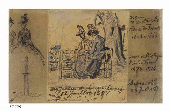 Johan barthold jongkind 2 works femmes assises for Arbres jardin du luxembourg