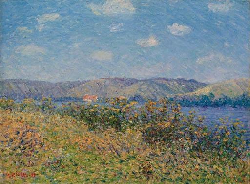 Artwork by Gustave Loiseau, Les berges de la Seine en été, Tournedos-sur-Seine, Made of oil on canvas