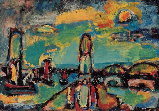Artwork by Georges Rouault, Paysage biblique, Made of oil on paper laid down on canvas