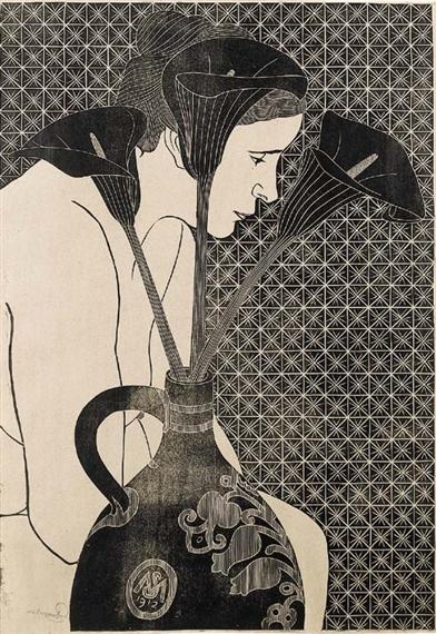 Samuel Jessurun de Mesquita | Sitting nude with calla lillies (1912) |  MutualArt