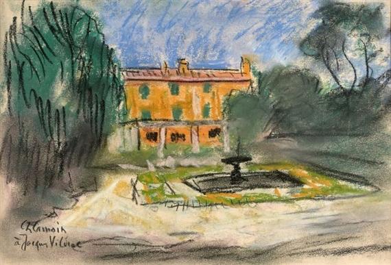 Charles Camoin - Maison et jardin, Pastel on paper