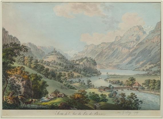 Gabriel lory the elder sortie de l 39 aar du lac de - Lac de brienz ...