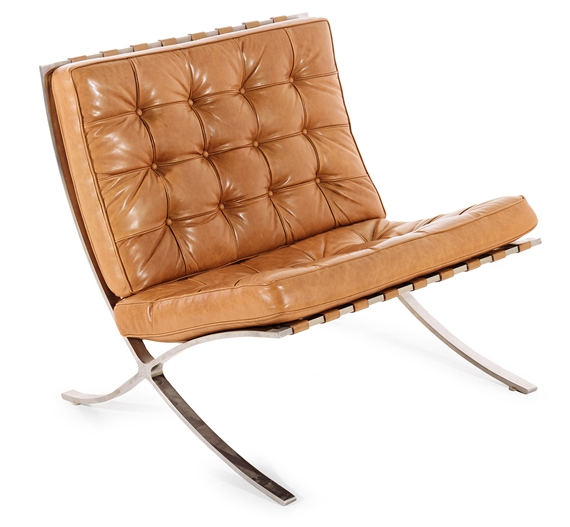 Artwork By Ludwig Mies Van Der Rohe, Barcelona Chair, Made Of Tan Leather,