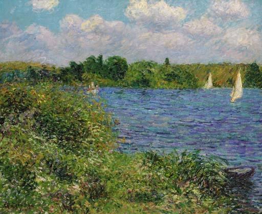 Artwork by Gustave Loiseau, La Seine à Porte-Joie, Made of oil on canvas