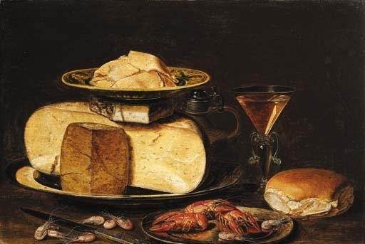 Картина «Clara Peeters», «Кусочки сливочного масла на плите« Praselein »Ванли« краак », на сливном стаканчике на оловянной тарелке, с кувшином, бокалом из фасоли-де-Венеции, булочкой, раком на оловянной тарелке, ножом и креветками На столе, с маслом на панели