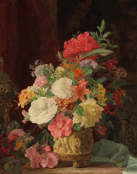 Amon Rosalie An Opulent Floral Still Life With Ornamental Vases