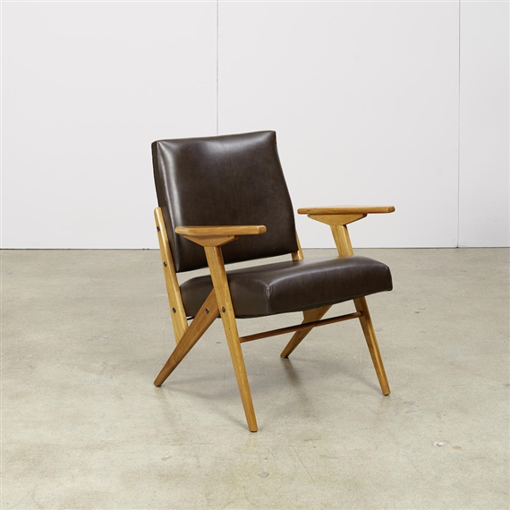 Artwork By José Zanine Caldas, Z Line Chair, Made Of Fruitwood, Faux Leather