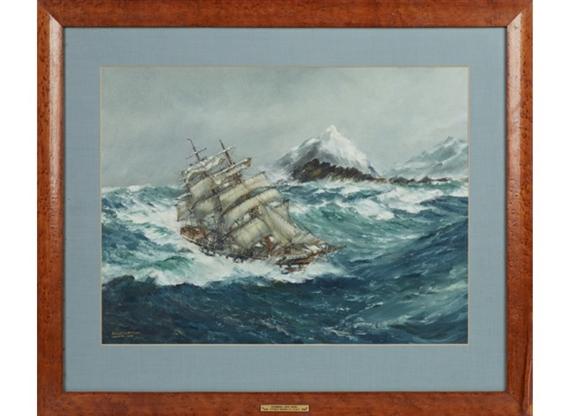 Frank H Mason Rounding Cape Horn Watercolor