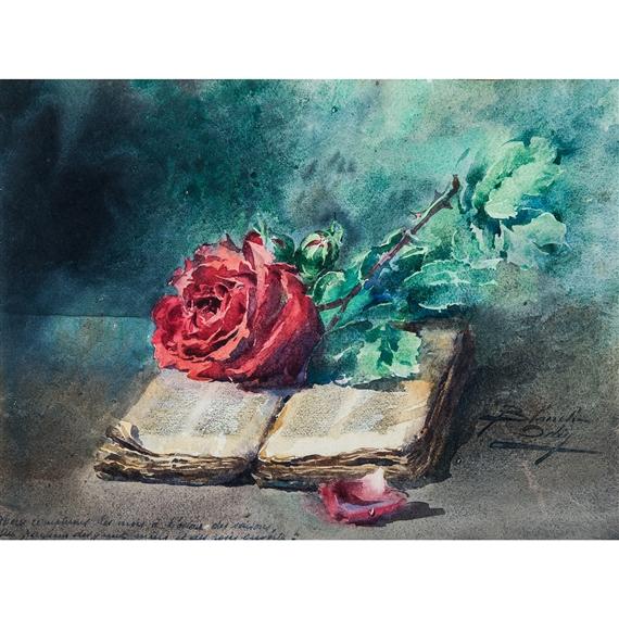 Odin Blanche   Nature morte à la rose et au livre   MutualArt