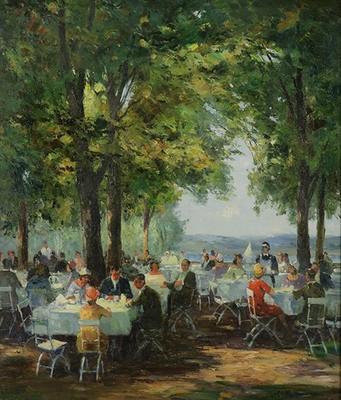 Artwork By Jules René Hervé Outdoor Cafe Scene With Figures Made Of Oil On