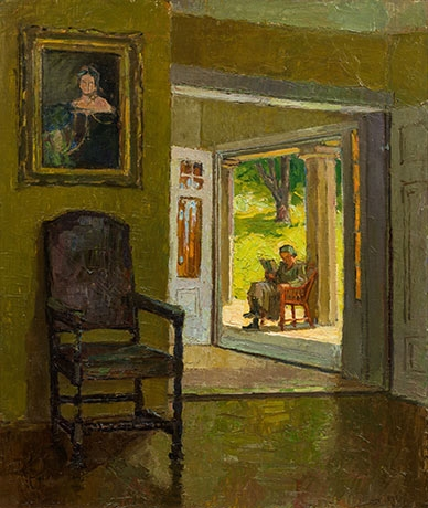Artwork by Carl Moll, Interior of the Villa Mahler (with reading lady on the veranda), Made of oil on canvas