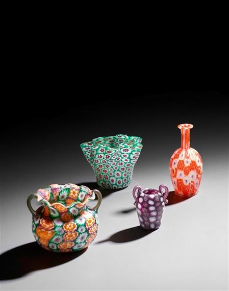 Fratelli Toso Vetreria A Green And Orange Two Handled Vase Mutualart