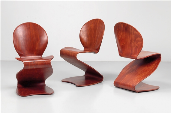 Artwork By Verner Panton, A Set Of Three S Chairs Model No. 276