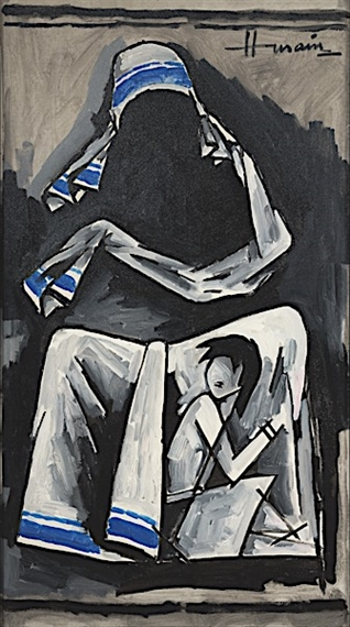 819f696ecc639 Artwork by M.F. Husain, Mother Teresa Series, Made of Oil on canvas
