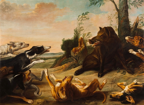 Paul de Vos | Wild boar attacked by hunting dogs | MutualArt