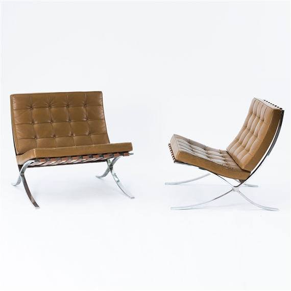 Ludwig Mies Van Der Rohe Two Barcelona Chairs 1929 Mutualart