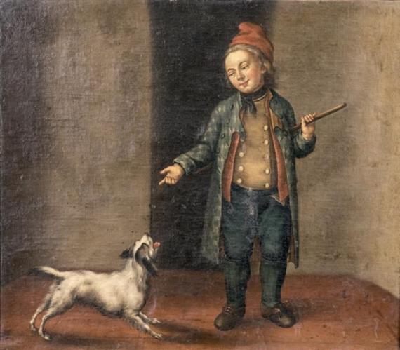German School, 18th Century - Le petit dresseur de...