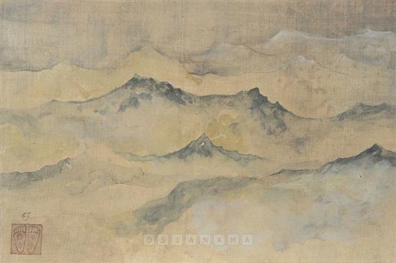 Artwork by Gaganendranath Tagore, The Himalayas, Made of Watercolour on silk