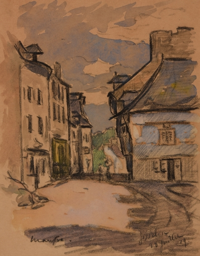 Artwork by Maxime Maufra, Ruelle à Josselin, Made of Watercolor over pencil