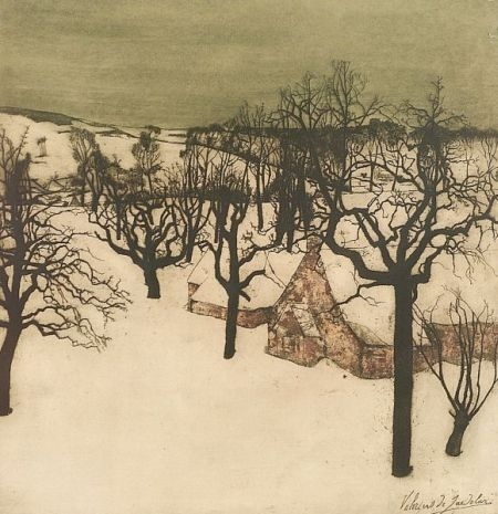 Artwork by Valerius de Saedeleer, Landscape in Winter, Made of Color etching with aquatint on paper