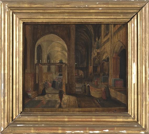 pieter neefs ii   figures in a church interior