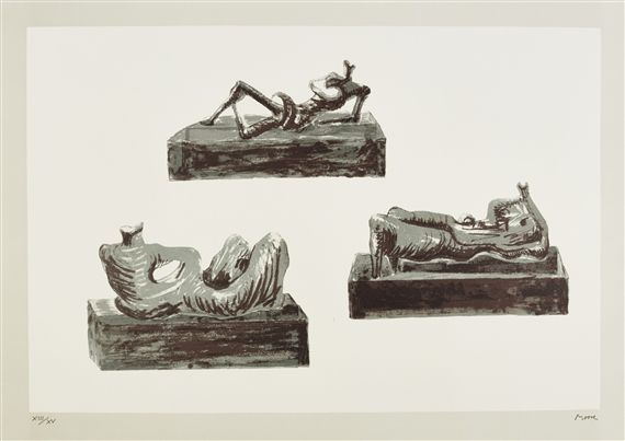 THREE RECLINING FIGURES ON PEDESTALS (C. 439) & Henry Moore - Reclining Figure No. 4 1954 bronze... islam-shia.org