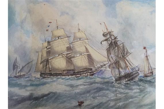 British School, 19thCentury | Sailing Ships at Full Mast