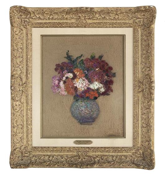 victor charreton vase a fleurs oil on board. Black Bedroom Furniture Sets. Home Design Ideas