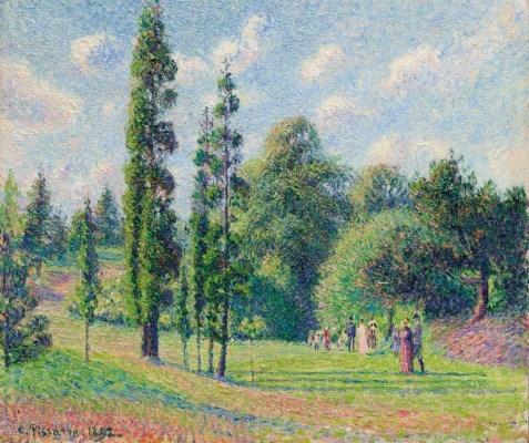 Artwork by Camille Pissarro, Jardin de Kew, Londres, près d'un étang, Made of oil on canvas