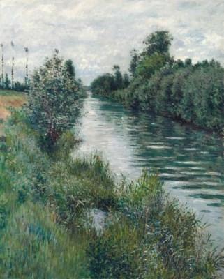 Artwork by Gustave Caillebotte, Le petit bras de la Seine à Argenteuil, temps couvert, Made of oil on canvas