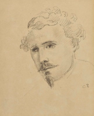 Artwork by Camille Pissarro, Autoportrait (recto); Deux esquisses d'un âne (verso), Made of pencil on paper