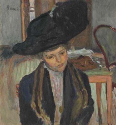 Artwork by Pierre Bonnard, Jeune femme au chapeau noir, Made of oil on canvas