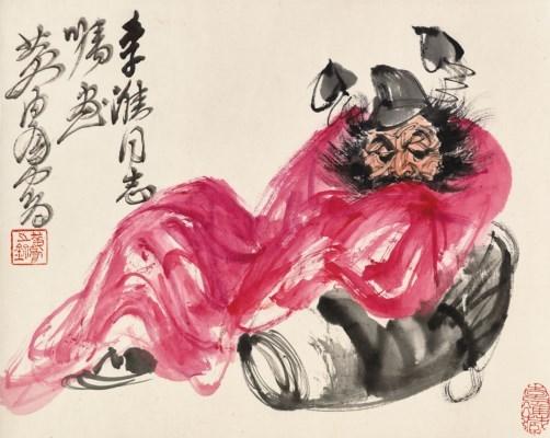 bd547886e89 Artwork by Huang Zhou, Zhong Kui, Made of Scroll, mounted and framed,