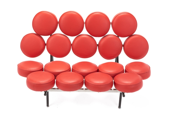 Artwork By George Nelson, Herman Miller, A Marshmallow Sofa, Made Of  Circular Red