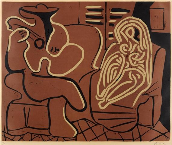 Nestor Vis Fauteuil.Picasso Pablo Femme Dans Un Fauteuil Et Guitariste B 917 Ba
