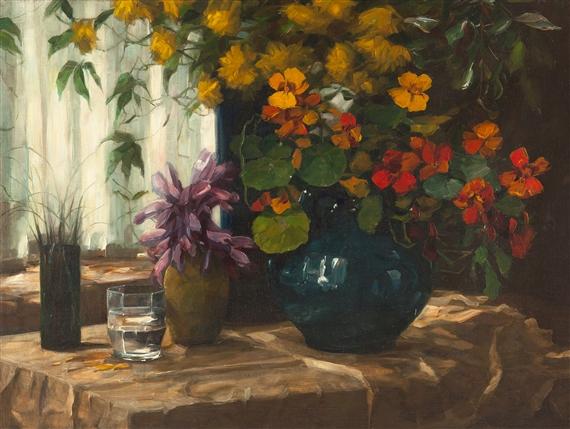 Alexander Max Koester Blumenstillleben Kapuziner Mit Blauer Vase