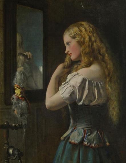 francis john wyburd girl brushing her hair at a mirror