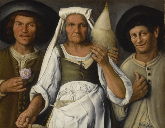 Vincenzo campi an old peasant woman with a an old peasant woman with a distaff and spindle flanked by two male peasants sciox Gallery