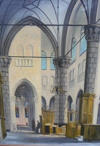artwork by george jan dispo kerk interieur met figuren made of oil on canvas