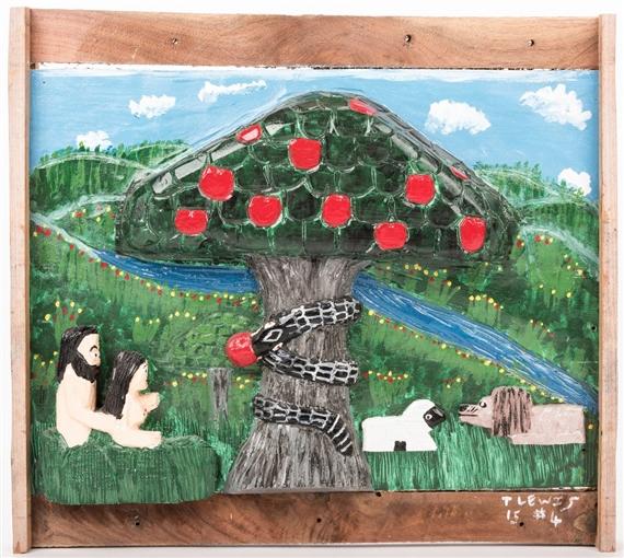 Lewis Tim | Adam and Eve in the Biblical Garden of Eden beneath the ...