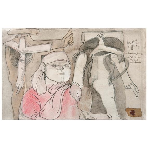 Jose Luiscuevas Estudio Para 1 Mural Efimero 1967 Mutualart