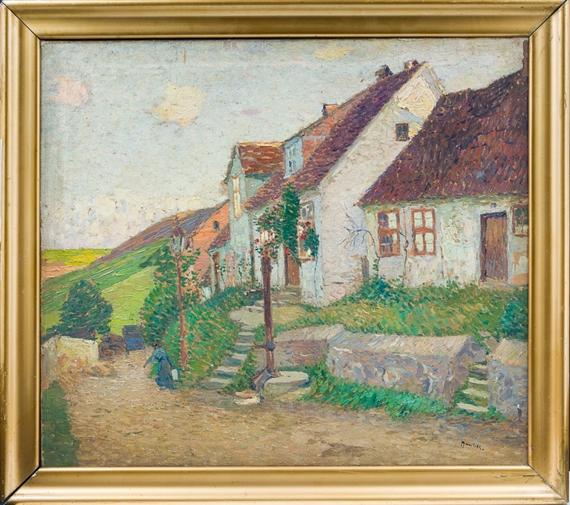 Uth Max Dorfrand Mit Kleinen Bauernhäusern Und Blühenden Gärten