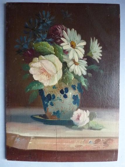 Alexandre defaux coastal scene oil on canvas for Bouquet fleuri