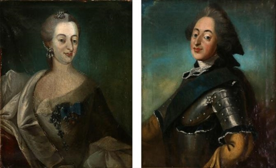 Carl Gustaf Pilo A Pair Of Portraits Of King Frederik V And Queen