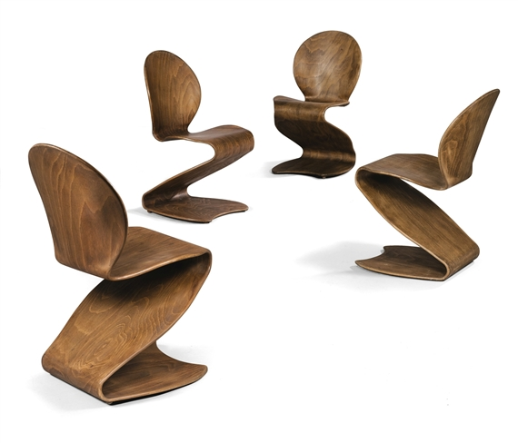 Artwork By Verner Panton, FOUR S CHAIRS, Made Of Laminated Plywood