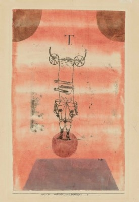 Artwork by Paul Klee, Weibsteufel, die Welt beherrschend. (She-Devil, Dominating the World), Made of watercolour and oil transfer drawing on paper laid down on the artist's mount