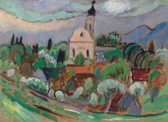 Artwork by Gabriele Münter, Frülingsstudie mit Kirche, Murnau, Made of oil on board
