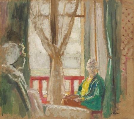 Artwork by Édouard Vuillard, Madame Hessel et Lulu devant la fenêtre de l'hôtel à La Baule, Made of oil on board