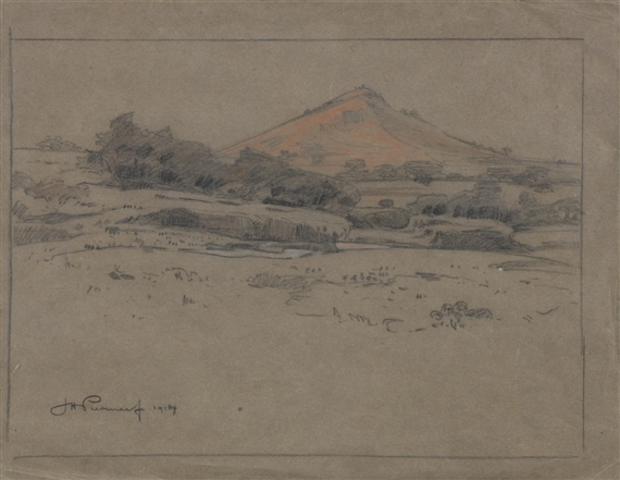 Jacob Hendrikpierneef Two Drawings Mountain View And Tree
