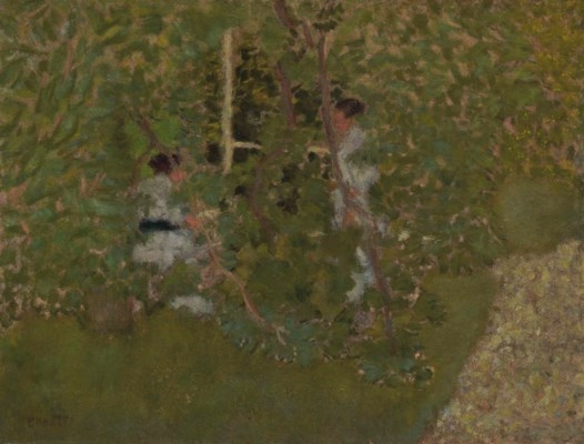 Artwork by Pierre Bonnard, La charmille, Made of oil on board laid down on cradled panel
